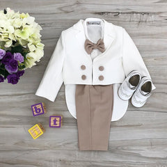 Charles Suit (Taupe & White)