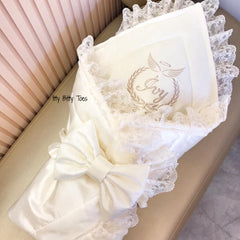 Angel Embroidered Bow Blanket