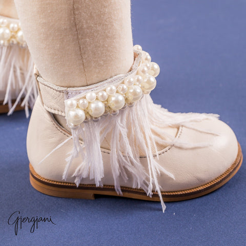 Gigi Ivory Feather - Shoes - Itty Bitty Toes
