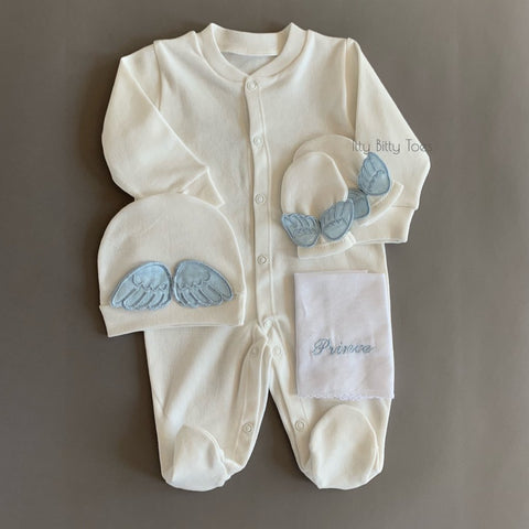 Prince Embroidered Baby Set - Newborn Set - Itty Bitty Toes