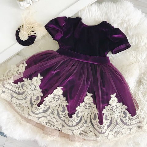 Alexandra Dress (Purple Velvet) - Couture - Itty Bitty Toes