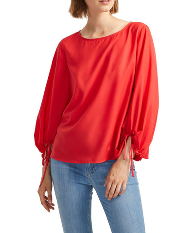 French Connection Light Crepe Balloon Sleeve Blouse in Fire Coral