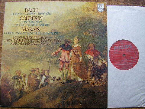 BACH: SONATA in G / COUPERIN: CONCERTO No.9 / MARAIS: COUPLETS HOLLIGER / CERVERA / JACCOTTET 6500 618