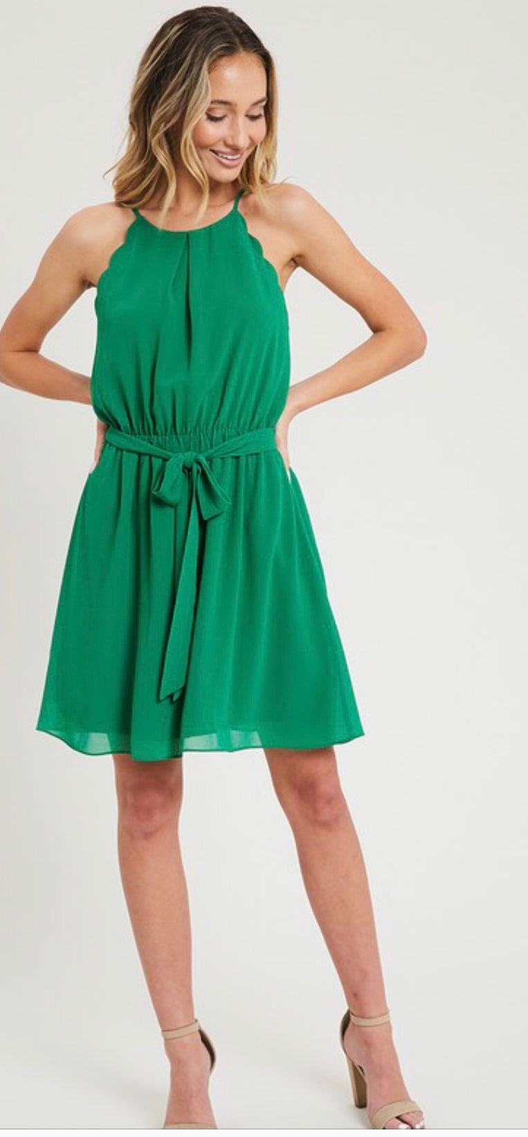 Green scallop edge dress with front tie