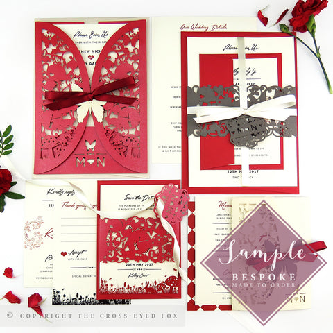 Alice in Wonderland | Sample Set Full Collection | Laser Cut Wedding Stationery