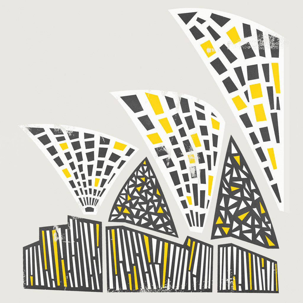 Sydney opera house, abstract shapes illustration, fox and velvet commissions