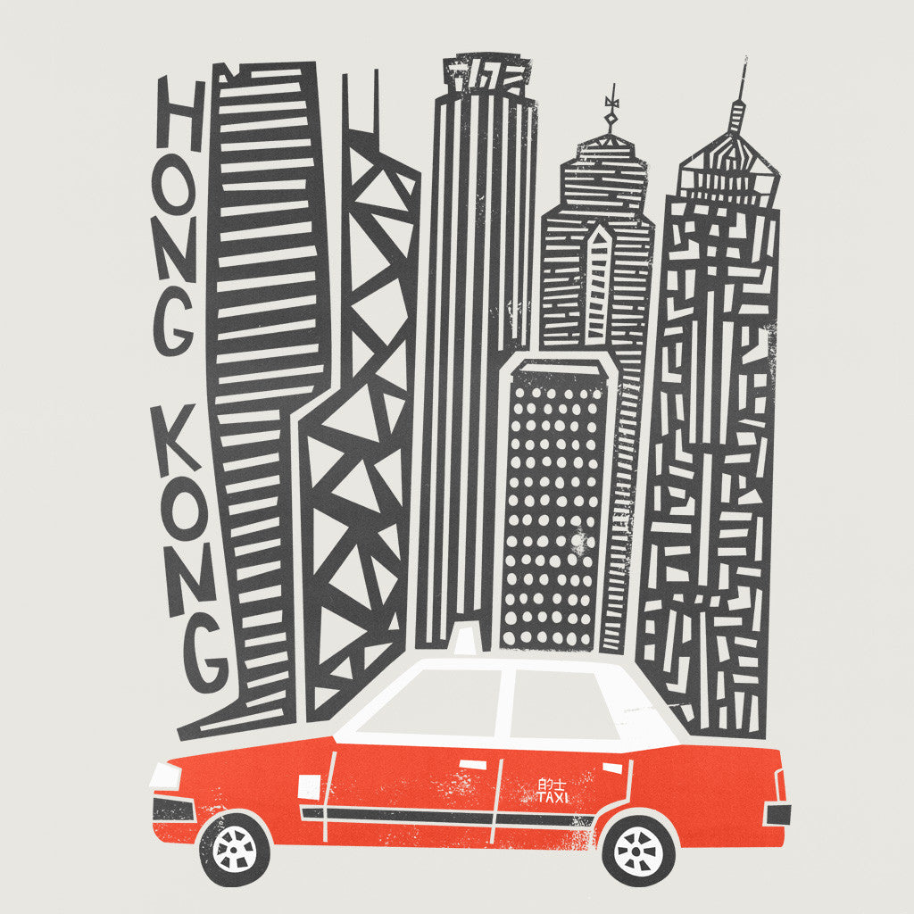 Hong Kong Taxi retro illustration