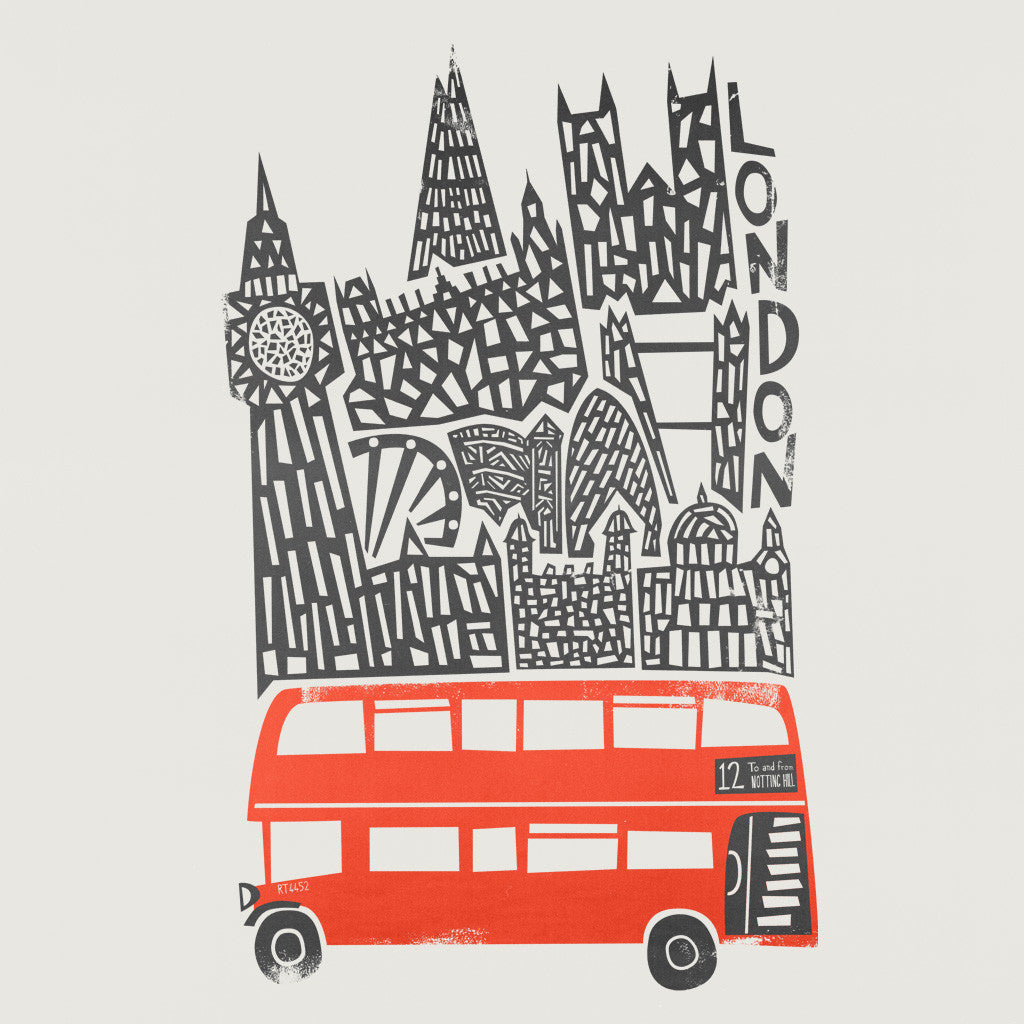 Retro double decker bus illustration