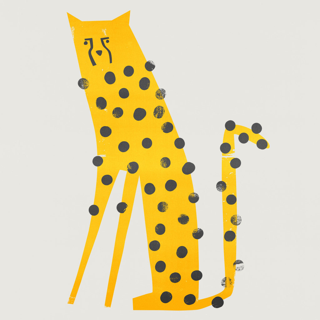 Fox And Velvet Cheetah Illustration, mid century animal, Zoo animal design, Safari animal