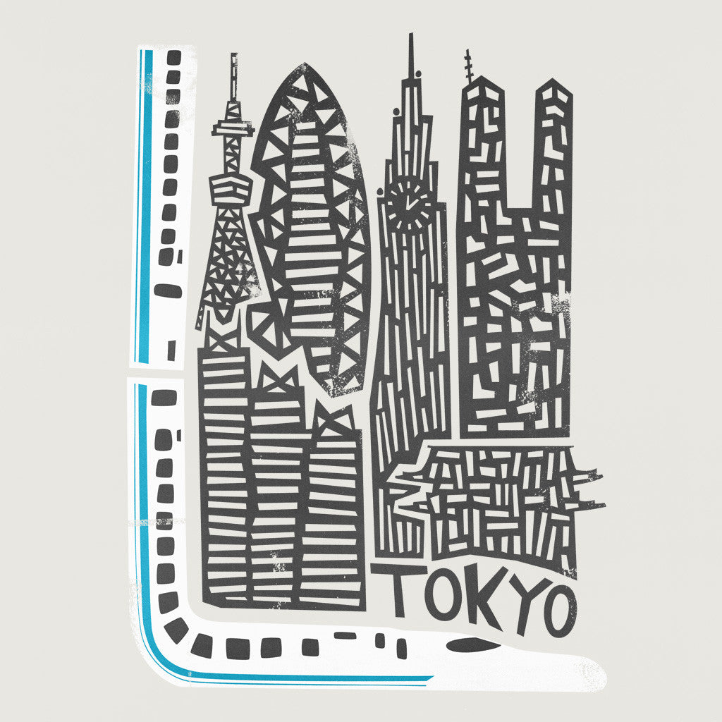 Tokyo Cityscape Illustration, Mid century travel art, fox and velvet commission work, Japan travel designs