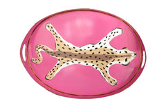 Oval Leopard Tray In Pink