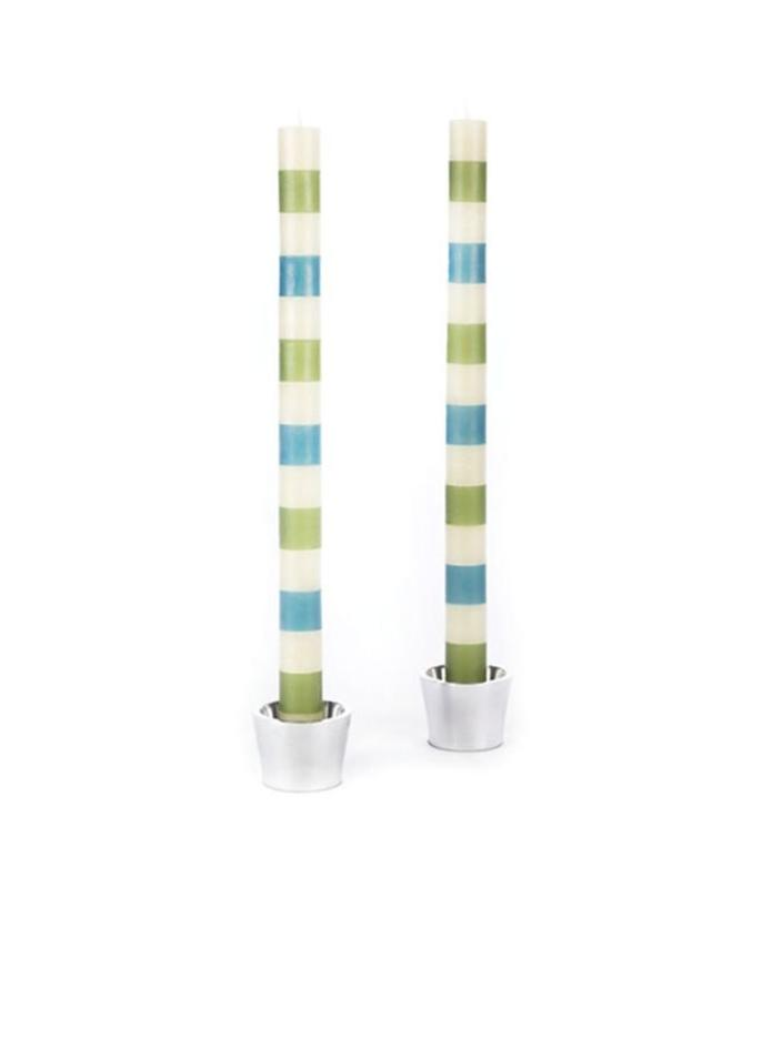 Green and Blue Stripe Taper Candle S/2