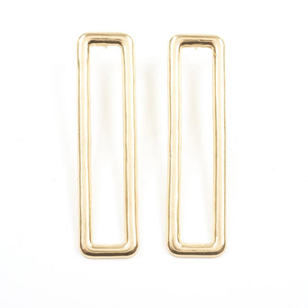 Brass Long Rectangle Earrings 3""