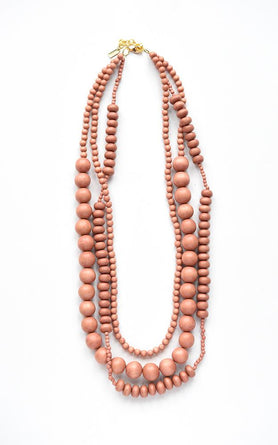 Wood Necklace- 3 Strand Coral Wood Beaded