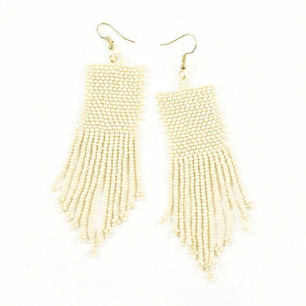 Ivory Seed Bead Earrings 2.75""