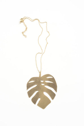Monstera Leaf Brass Necklace 16""