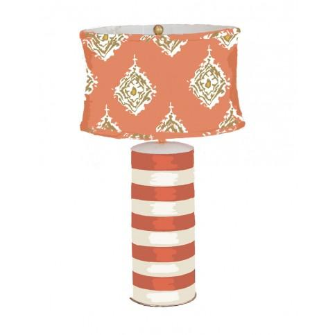 Lamp | Handprinted Tole Orange and White with Custom Shade