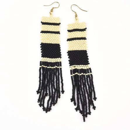 Seed Bead Earring w/ Fringe, Black & White Stripe