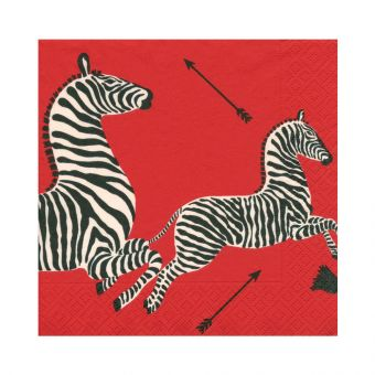 Zebras Red Napkin Dinner