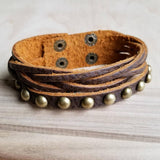 Multi Strand Leather Cuff with Studs #117-126