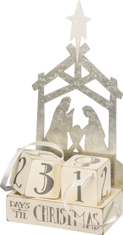 Christmas Countdown Silver Nativity Scene Advent Block Calendar  #896