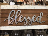"Slat Wood Sign with Raised Metal Letters ""Blessed"" Farmhouse Decor #958"