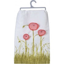 "Dish Towel ""Be Still"" with Pink Spring Flowers"