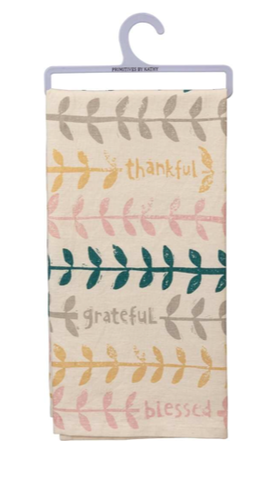 "Dish Towel ""Thankful  Grateful Blessed"" with Fern Leaves"