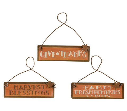 Fall Ornaments Set of 3 Tin Signs #658