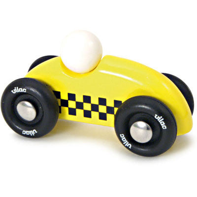 Mini Yellow Checkered Race Car from Vilac