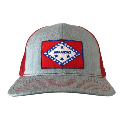 Arkansas Flag Hat - Grey/Red
