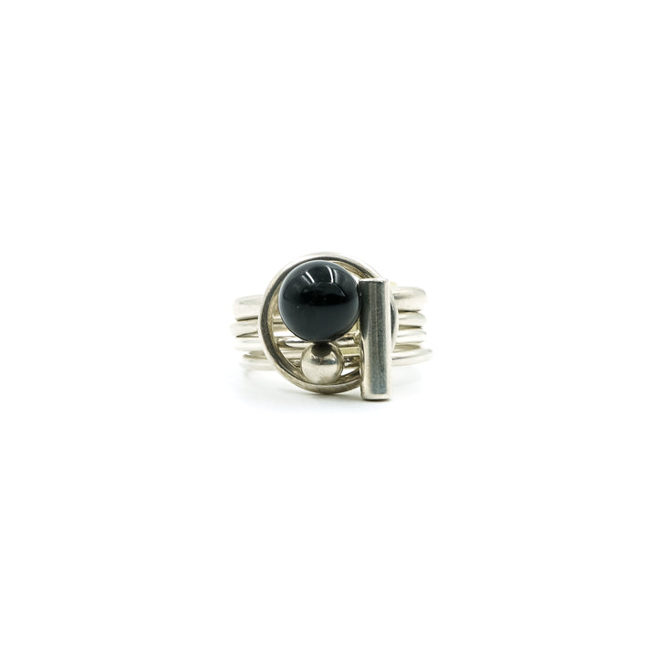 Silver Black Onyx Puzzle Ring