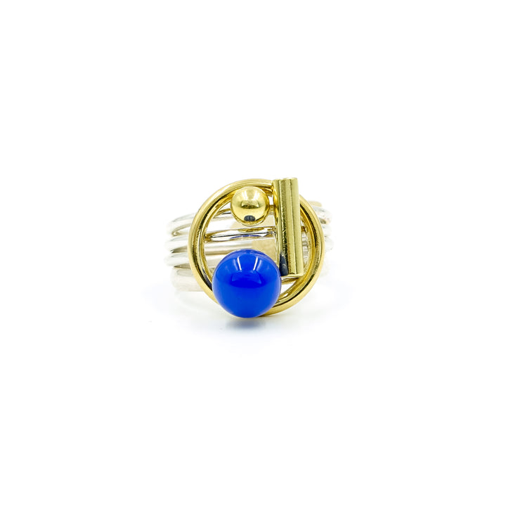 Blue Onyx Puzzle Ring
