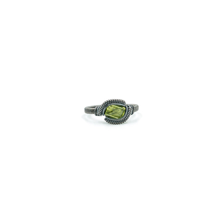 Peridot & Sterling Wire Wrapped Ring