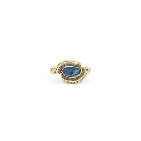Tanzanite Yellow Gold & Ti Wire Wrapped Ring