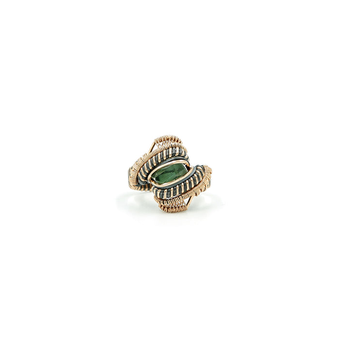 Tourmaline Rose Gold Silver Wire Wrapped Ring