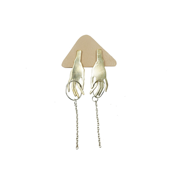 Hand Earrings Brass with Silver by Tiny Asteroid Jewelry