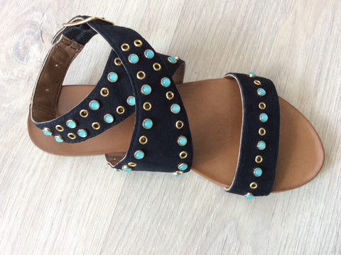 Inuovo 8415  black leather gladiator sandal turquoise and stud decoration