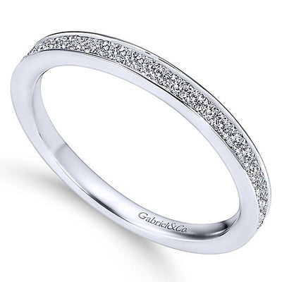 WEDDING - 14K White Gold 1/4cttw Bead Set Diamond Wedding Band With Polished Edges