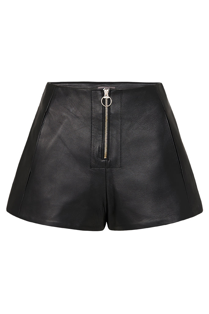 ZIP FRONT LEATHER SHORTS - BLACK-SHORTS-Watson X Watson-Watson X Watson