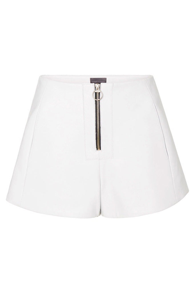 ZIP FRONT LEATHER SHORTS - WHITE-SHORTS-Watson X Watson-Watson X Watson