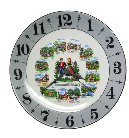 Porcelain Plate Clock with Black Forest Scene