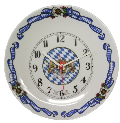 Bayern Bavarian Glass Plate Wall Clock