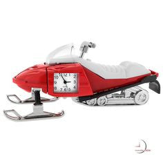 Red Snowmobile Miniature Clock