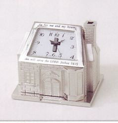 Silver House Miniature Clock