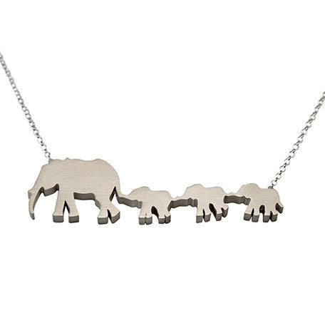 Elephant Mom and 3 Babies Silhouette Necklace