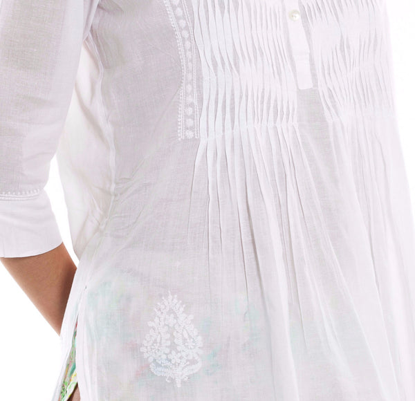 Hand Embroidered Pleated Shirt