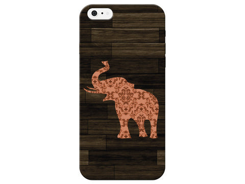 Peach Patterned Elephant Wood Grain Phone Case