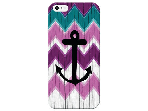 Anchor Chevron Wood Grain Phone Case
