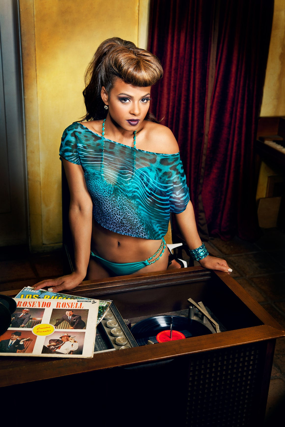 Cienfuegos Crop Top Teal Leopard - FINAL SALE